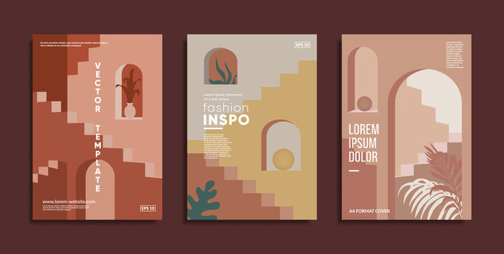Minimal geometric covers. Staircases, archs and flowers composition.