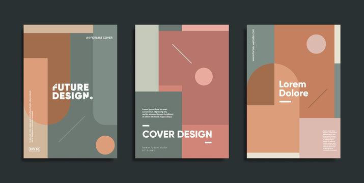 Creative geometric art prints. Mimimalist cover templates.
