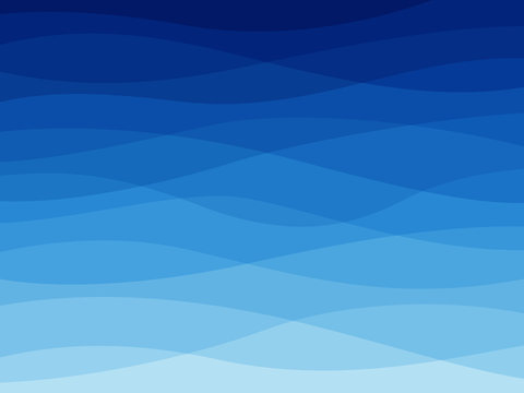 Abstract blue wave. Water waves, flowing wavy lines, dynamic sea elements, ocean or river wallpaper design. Vector background