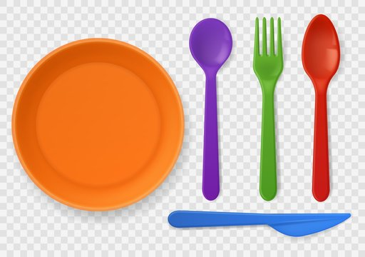 Disposable plastic tableware. Realistic colorful kids cutlery. Spoon, fork and knife, picnic kitchenware. Isolated vector set