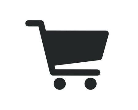 Web store shopping cart icon shape button. Internet shop buy logo symbol sign. Vector illustration image. Isolated on white background.
