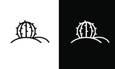 Cactus icon set vector design black and white