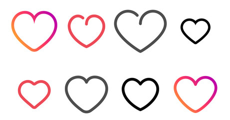 Fototapete - Set of simple line rounded heart icons.