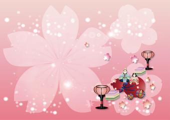 ひな人形やひな祭りの小物でキラキラのピンク背景素材