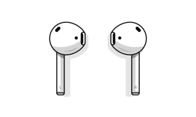 Airpods wireless bluetooth headphones. Vector illustration. Isolated on a white background.