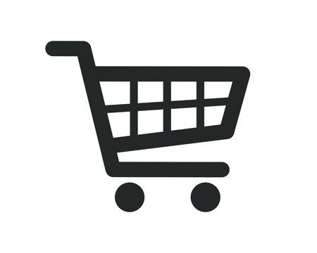 Web store shopping cart icon shape button. Internet shop buy logo symbol sign. Vector illustration image. Isolated on white background.