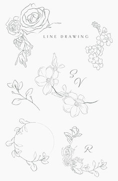 Collection of delicate line drawing vector floral wreaths frames. hand drawn delicate flowers, branches, leaves, blossom. Botanical illustration. Leaf logo. Magnolia, Forget me not, petals