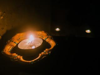 silver diwali diya lamp for social media background