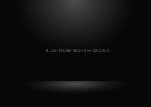 Abstract black background Studio room backdrop well for background.