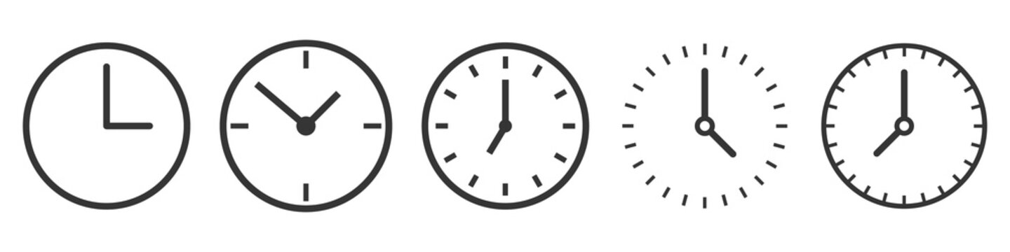 Vector Time and Clock icons in thin line style.