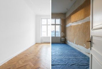 empty room before and after renovation - home refurnishment -