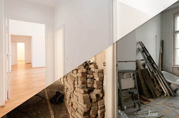 flat renovation, apartment before and after refurbishment