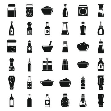 Condiment sauce icons set. Simple set of condiment sauce vector icons for web design on white background
