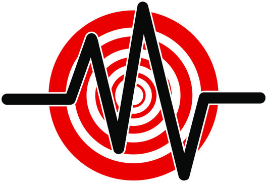 Earthquake icon. seismogram for seismic measurement.