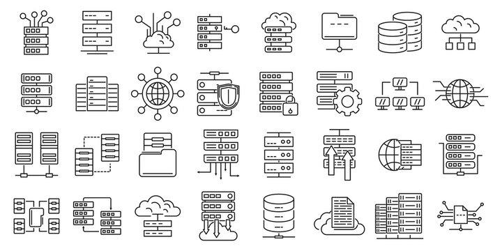 Data center icons set. Outline set of data center vector icons for web design isolated on white background