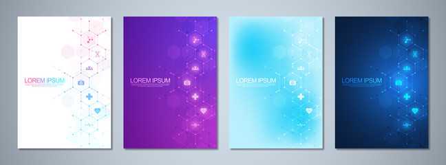 Set of template brochures or cover book, page layout, flyer design. Concept and idea for health care business, innovation medicine, pharmacy, technology. Medical background with flat icons and symbols