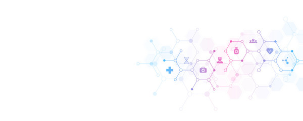 Abstract medical background with flat icons and symbols. Template design with concept and idea for healthcare technology, innovation medicine, health, science and research. Fotobehang
