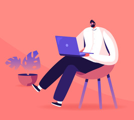 Young Business Man, Programmer, Creative Outsourced Employee Sitting on Chair Working on Laptop. Freelancer Work Remotely at Home or Coworking Place Using Smart Device Cartoon Flat Vector Illustration