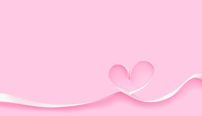 valentine's day background,  heart shape with pink ribbon