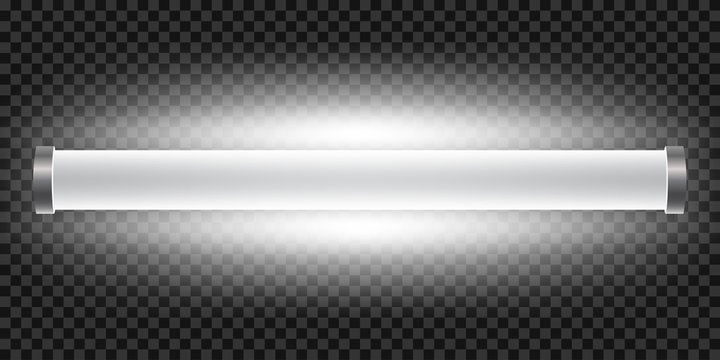 Realistic bright 3d long luminescence light lamp, white illuminated fluorescent tube isolated on transparent background – stock vector