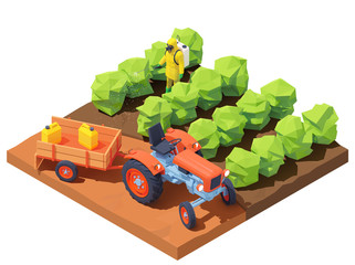 Vector isometric farmer spraying pesticides on plants in field. Agriculture worker in protective workwear and respirator with manual pesticide sprayer on fruit growing plantation. Garden weed control