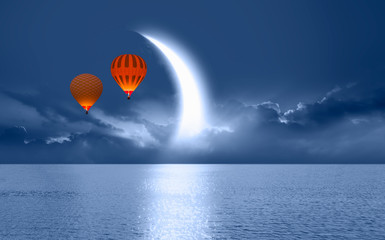 Wall Mural - Night sky with crescent moon in the clouds with hot air balloon