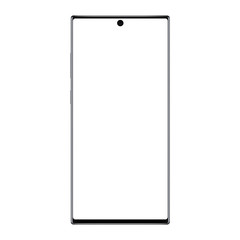Modern frameless smartphone mockup with blank screen isolated on white background. Vector illustration