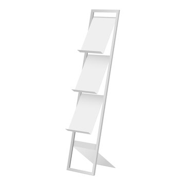 Display stand for brochure, magazine, leaflet isolated on white background. Vector illustration