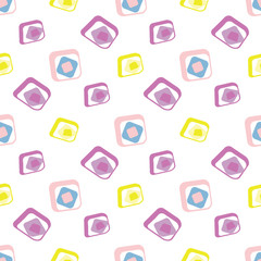Rounded square mid-century seamless pattern.