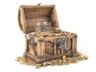 Open treasure chest filled with golden coins, gold and jewelry isolated on white background.