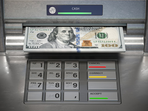 Wthdrawing dmonet from ATM machine. Dollar banknotes in cashpoint.