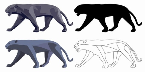 illustration of panther , vector drawing set