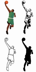 isolated illustration of a basketball player, vector drawing set