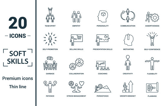 Soft Skills icon set. Include creative elements team spirit, personality, self-promotion, motivating, negotiation icons. Can be used for report, presentation, diagram, web design