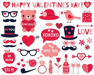 Valentines Day vector clip art and photo booth props