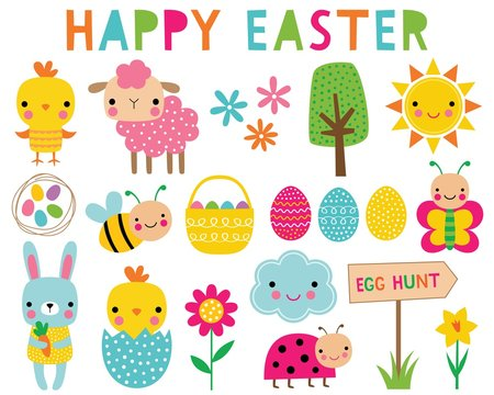 Happy Easter and spring vector clip art set