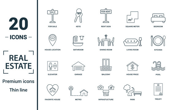 Real Estate icon set. Include creative elements for sale, rent sign, house location, living room, elevator icons. Can be used for report, presentation, diagram, web design