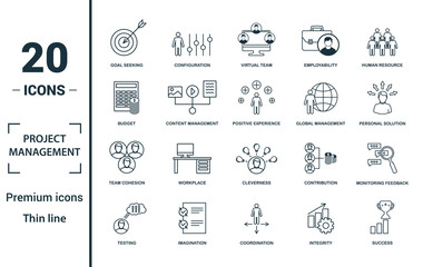 Project Management icon set. Include creative elements goal seeking, virtual team, budget, global management, team cohesion icons. Can be used for report, presentation, diagram, web design