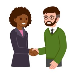 Cartoon man and woman shaking hands