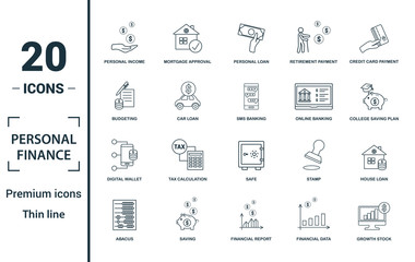 Obraz Personal Finance icon set. Include creative elements personal income, personal loan, budgeting, online banking, digital wallet icons. Can be used for report, presentation, diagram, web design - fototapety do salonu