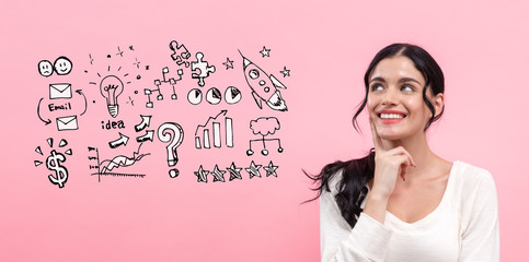 Business strategy ideas with young woman in thoughtful pose
