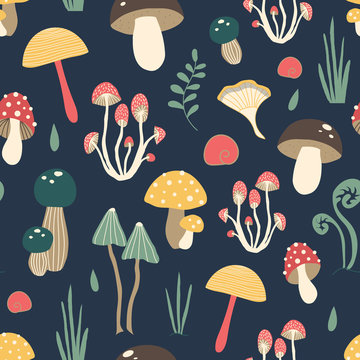 Cute vector pattern with mushrooms in the forest