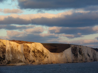 Taking the Ferry from Calais to Dover - Good View of the Coastal Cliffs of Dover at Sunset