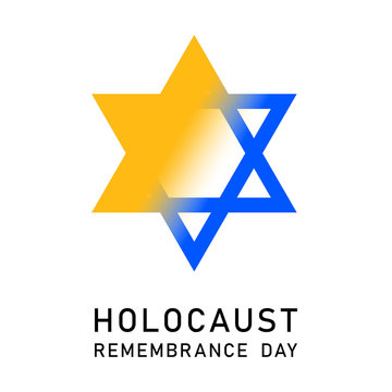 Holocaust Remembrance Day. January 27. Vector illustration. Blue Star of David, Yellow Star of David. Holocaust Remembrance Day symbol. Yellow badge, Jewish star,  World War II Remembrance Day