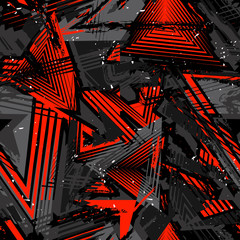 Papiers peints Graffiti Abstract seamless grunge pattern. Urban art texture with neon lines, triangles, chaotic brush strokes, ink elements. Colorful graffiti vector background. Trendy design in red, black and gray color