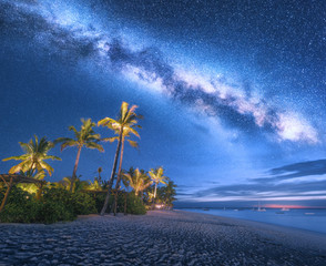 Papiers peints Palmier Milky Way over the sandy beach with palm trees and sunbeds and umbrellas at night in summer. Landscape with sea coast, beautiful blue starry sky, galaxy and palms. Travel in Zanzibar, Africa. Space