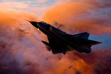 Composite image of fighter jet aircraft silhouette against orange clouds