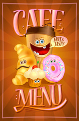 Cafe menu design with coffee, croissant, muffin and donut