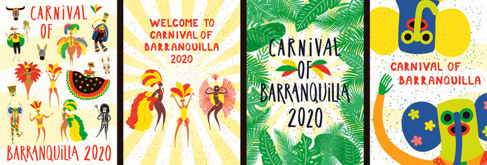 Set of Carnival of Barranquilla posters with dancing people in traditional costumes, animal masks, tropical leaves, text. Hand drawn vector illustration. Flat style design. Concept for flyer, banner.