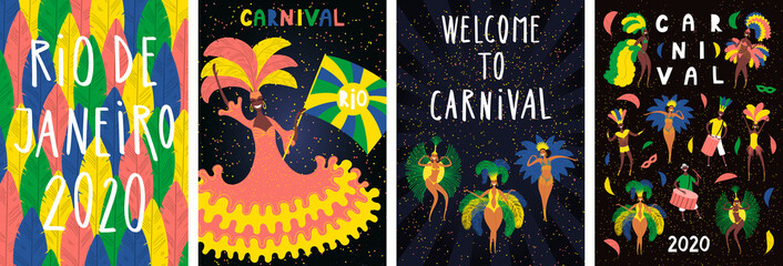 Set of Brazilian Carnival posters with dancing people in bright costumes, colorful feathers, text. Hand drawn vector illustration. Flat style design. Concept for Rio de Janeiro flyer, banner.